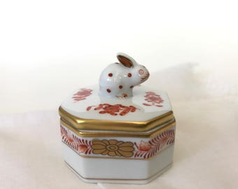 Herend Bunny Porcelain Trinket Box Ring Box Easter Rabbit Figurine 6020