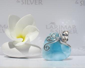 Larimar pendant from Larimarandsilver, Angel of Love - sky blue Larimar heart, love waves, turtleback, love fairy, handmade Larimar pendant