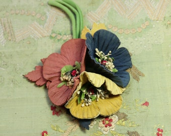 Antique most lovely millinery corsage roses suede flowers  1940s stamens world war II  shades earthy red yellow blue