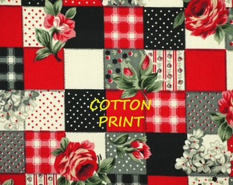 1/2 YARD, QUILT COTTON, Red Black White Check Print Fabric, Hamil Textiles 25610, Calico Roses, B9