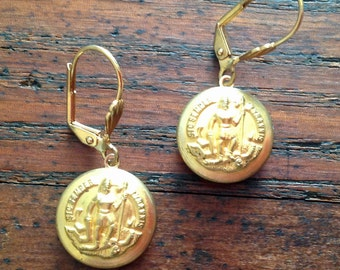 Virginia State Seal Button Earrings