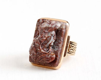 Sale - Antique 10k Rose Gold Cameo Ring - Vintage Victorian Late 1800s Size 4 Carved Hardstone Roman Soldier Warrior Fine Jewelry