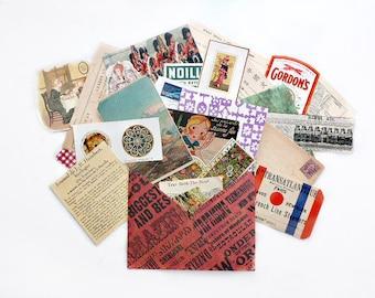 Paper Ephemera Pack, 24 Large Pieces in Handmade Envelope