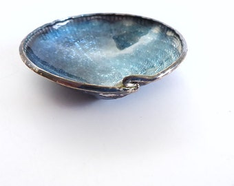 Small Blue Guilloche Enamel Silver Bowl or Dish