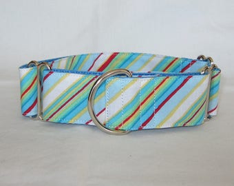 SALE Blue Stripe Martingale Dog Collar - 1.5 or 2 Inch - calm spring summer red yellow white green colorful diagonal