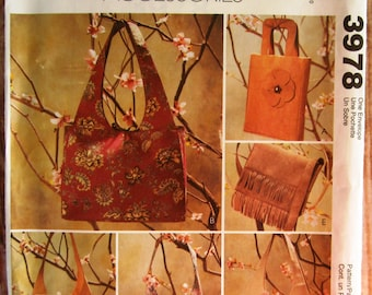 Assorted Bags and Purses McCalls Fashion Accessories Pattern 3978 UNCUT