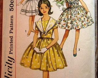 Vintage 1960s Girls One-Piece Dress Size 14 Simplicity Pattern 3848 Cut/Complete