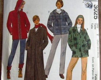 Misses Unlined Coat and Jacket in Two Lengths Sizes XS S M McCalls Pattern 3025 UNCUT