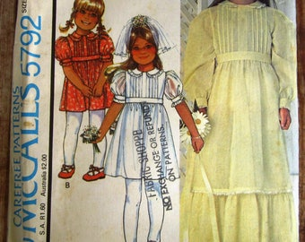 Vintage 1970s Little Girls High Waisted Dress with Long or Short Sleeves Size 5 Laura Ashley McCalls Carefree Pattern 5792 UNCUT