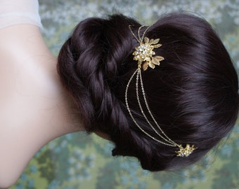 Draped chain Headpiece -  Gold Wedding Headpiece - Gold-tone Bridal Hair Accessory - Boho wedding hair jewellery