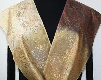 Tan, Golden Terracotta, Brown Handmade Silk Scarf Hand Painted, TOFFEE CREAM, in 3 SIZES. Valentine's Gift, Mother Gift.