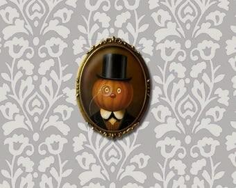 Halloween Brooch - Pumpkin Brooch - Halloween Jack-O-Lantern - Gothic - Gentleman Pumpkin Man - Oval