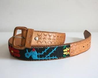 Guatemalan Embroidered Bird Belt
