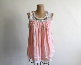 Pink Babydoll Cotton Gauze Crochet Top