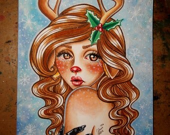 ORIGINAL PAINTING - Beautiful Colorful Pin Up Girl Watercolor Painting - Sad Rudolph by Carissa Rose - 8x10 inches