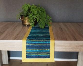 Handwoven Table Runner - Gift for Mom - Easter gift - Turquoise, yellow, mustard