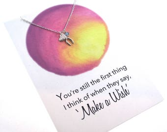 Heart Wishbone + Birthstone 925 Sterling Silver Necklace Silver Meaningful necklace Girlfriend gift idea perfect love jewelry Romantic gifts