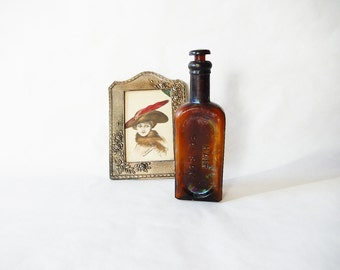 Vintage Bottle Parkers Hair Balsam Amber Bottle Antique Apothecary Glass Bottle Parkers Hair Balsam Vintage Medical Bottle with Stopper