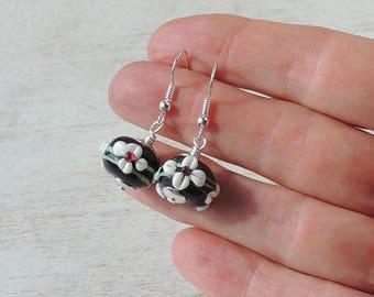 Black & White Earrings, Black Flower Glass Bead Earrings, Flower Earrings, Groovy Jewellery, Black Jewellery, Bead Jewellery, UK. 2174