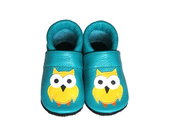 Leather Baby Booties, Baby Shoes, Owl Shoes, Infant Newborn Nursery Children, Yellow, Turquoise