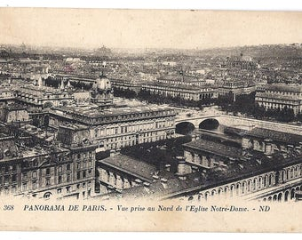 Early 1900s PARIS Vintage postcard - Panorama de Paris - Unused Blank post card from Notre-Dame