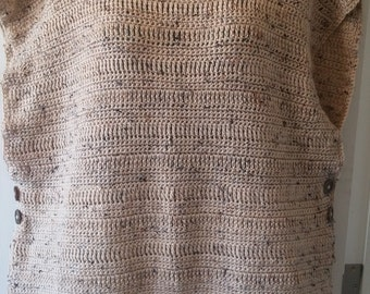 Oatmeal Brown Crochet Poncho With Side Buttons