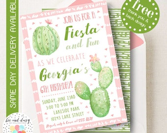 Cactus Invitation, Cactus Birthday Invitation, Cactus Birthday Party, Cactus Party Invitation, Girls Cactus Fiesta Invite, BeeAndDaisy