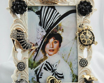 Stunning Embellished, Jeweled Fashion Inspired Theme on an Ivory, Brushed Gold Picture Frame, All Occasion Gift