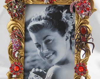 Beautiful Red,Rhinestones, Crystals,  Sealife Themed Gold Ornate Picture Frame, All Occasion Gift
