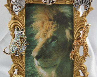 Beautiful Jeweled, Rhinestones and Crystals, Animal Themed Gold Picture Frame, All Occasion Gift