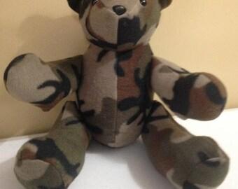 Camo Fleece Teddy Bear, Bear, Stuffed Animal, Stuffed Toy