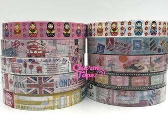 London, Russian Dolls, Eiffel Tower Plastic Deco Tape 10 meters PT8