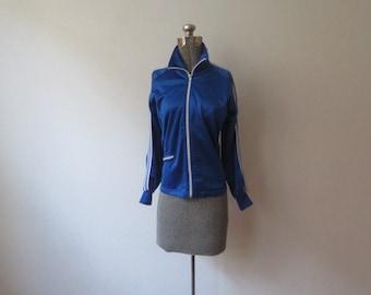 Vintage '70s/'80s Royal Blue, High Shine! Satin-y Jog-Joy Track Jacket, Small/Medium