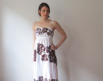 Vintage '60s/'70s Strappy Hawaiian Maxi Dress, Crisp White Cotton, All-Over Print, Small