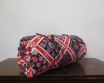 Vintage '60s Patchwork Print Red, White & Blue Cotton Sleeping Bag, 70 x 33 inches