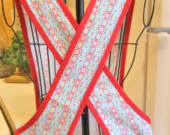 Old Fashioned Crossver Back Apron in Aqua and Red