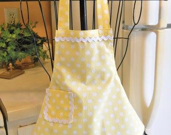 Yellow Polka Dot Toddler Girl's Apron
