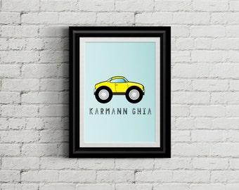 BOYS ROOM  Karmann Ghia Kids Bedroom Wall Print Decor