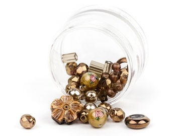 NEW! Vintage Golden Jewelry Bead Making Kit, Beading Kit, Bead Storage, Carnelian Gemstone, Czech Glass, Millefiori, Lampwork Beads, 61g