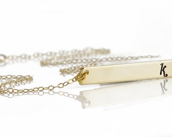 Initial Necklace // 14kt Gold Horizontal Bar Necklace // Upper/Lower Case Necklace // Personalized Necklace // Boyfriend/Girlfriend Necklace