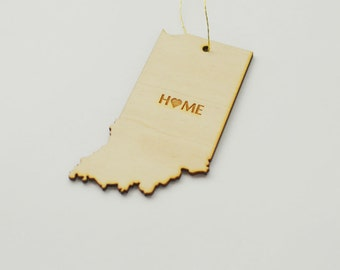 Natural Wood HOME Indiana State Ornament