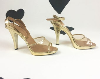 70's gold clear high heels 1970's sexy disco stripper metallic open toe ankle strap platform cha cha heels / Sandals / Shoes / size 6