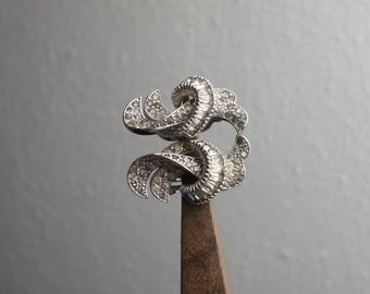 Vintage Jomaz Silver Rhinestone Clip On Earrings, Whimsical Swirl Design, 1960s Vintage Accessory, Classic Jomaz Jewlery