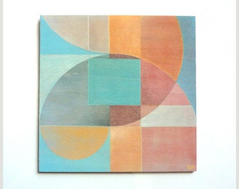 Square Abstract Art Painting, small wood wall art, serene mixed media painting