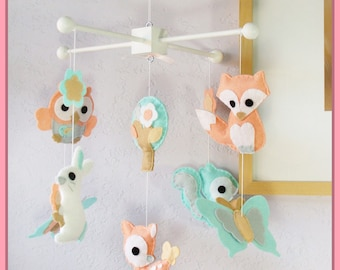 Baby Mobile , Woodland Friends Mobile, Baby Crib Mobile, Bunny Deer Fox Squirrel Owl Butterfly Theme, Coral Turquoise Cream Gray and White