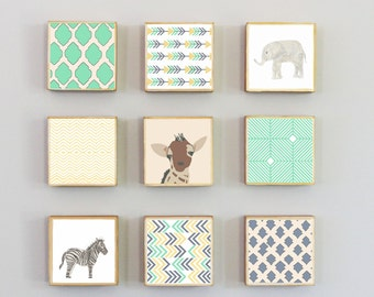safari nursery wall art- nine set of 5x5 art blocks- nursery decor, zebra, animal prints, safari decor, geometric print, redtilestudio