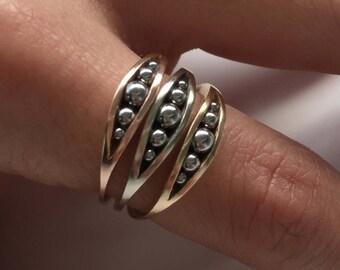 Gold & Steel Rings (3) | Minimalist | Modern | 14K Yellow White Rose Gold | Designer | Stacking Ring | Vintage Modern