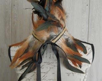 Steampunk Brown Feather Collar