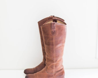 FRYE brown leather knee high boots size 7.5 B