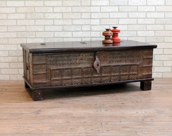 Coffee Table Reclaimed Pitara Trunk Table Antique Indian Wedding Chest Turquoise Moroccan Decor Boho Interior Mediterranean